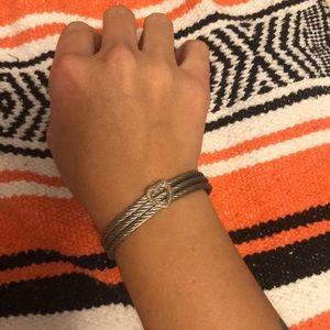 Silver Magnetic Clasp Diamond Heart Bracelet
